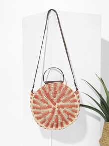 Ring Handle Round Straw Bag