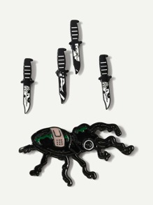 Knife & Insect Brooch Set 5pcs