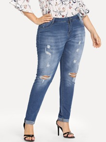 Plus Roll-Up Ripped Bleach Wash Skinny Jeans