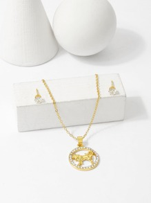 Taurus Pendant Necklace & Earrings Set