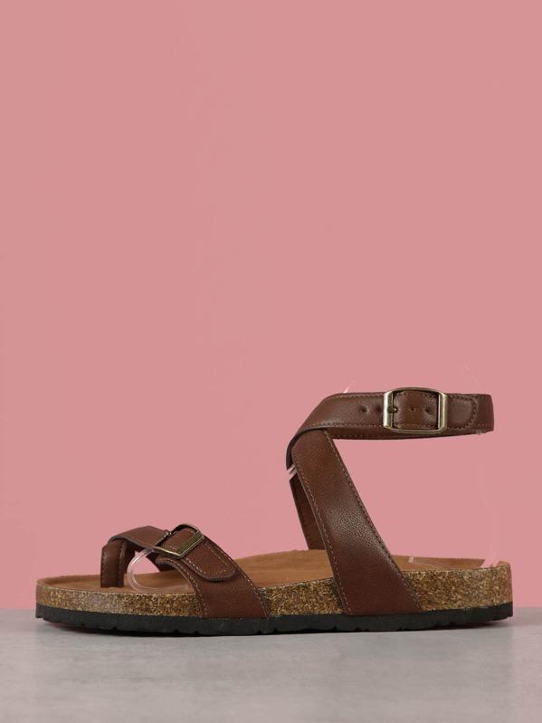 3b0d54392ae Ankle Strap Toe Ring Cork Footbed Sandal