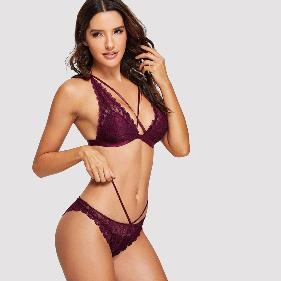 Criss Cross Floral Lace Lingerie Set