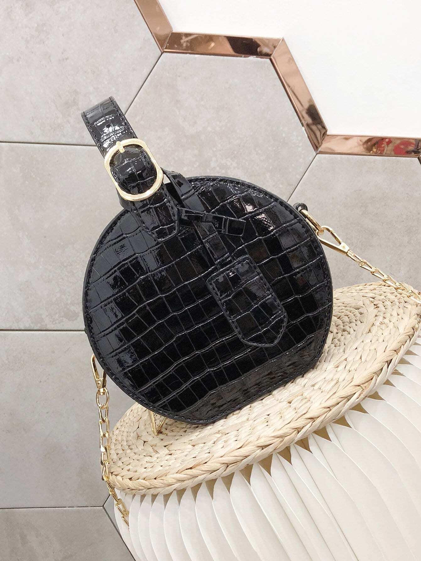 runde tasche mit krokodil muster und kette german shein sheinside. Black Bedroom Furniture Sets. Home Design Ideas