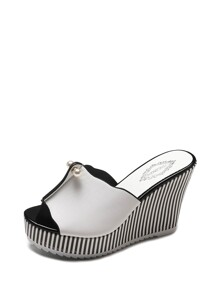 Faux Pearl Detail Striped Wedge Mules