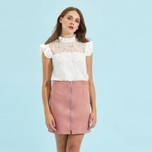 SHEIN   Zipper Up Front Skirt   Goxip