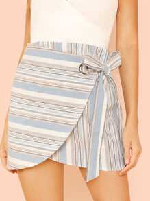 Knot Side Striped Wrap Skirt