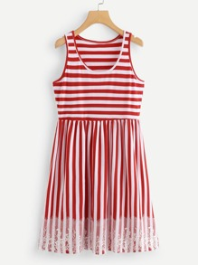 Contrast Lace Striped Sleeveless Dress