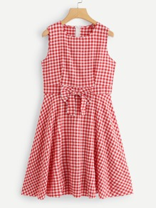 Gingham Bow Decoration Sleeveless Dress