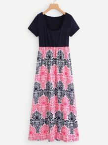 Contrast Damask Print Dress