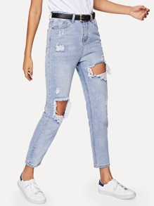 Cut Out Ripped Mom Jeans