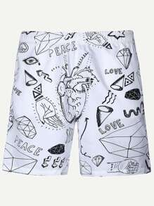 Men Geometric And Letter Print Shorts