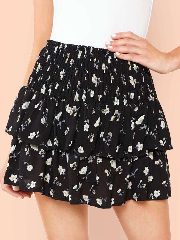 1321854acc Shirred Waist Layered Floral Skirt | SHEIN