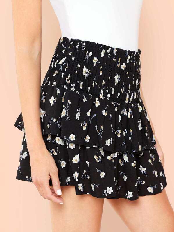b993e9a8b5 Shirred Waist Layered Floral Skirt | SHEIN IN