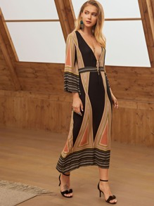 Geometric Print Deep V Neck Knot Front Dress
