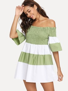 Colorblock Off The Shoulder Pleated Dress