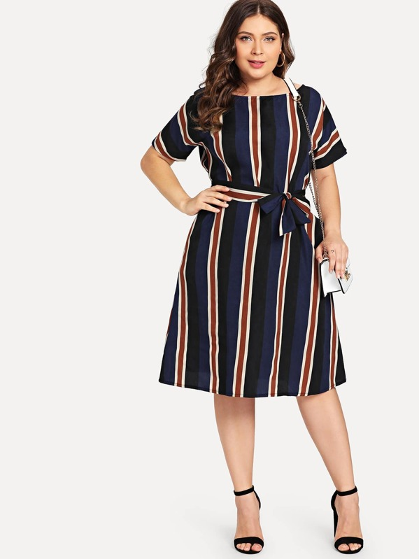 Plus Colorblock Striped Dress