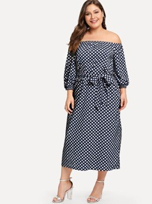 Plus Tie Waist Dot Print Off-Shoulder Dress