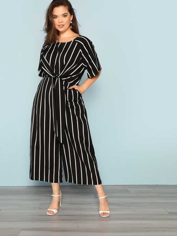 68e941805 Plus Knot Front Striped Wide Leg Jumpsuit | SHEIN UK