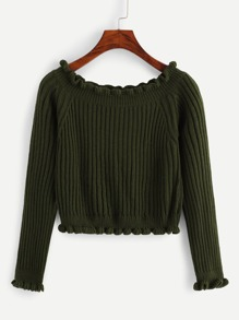 Frill Trim Solid Sweater