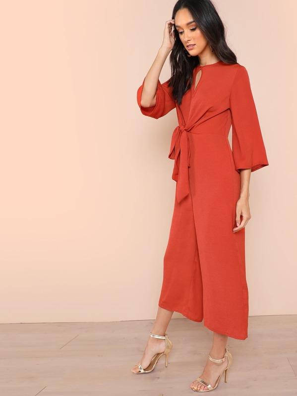 b6ea5e1288 Keyhole Knot Front Culotte Jumpsuit | SHEIN UK