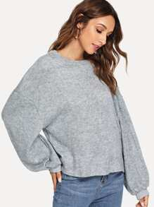 Dropped Shoulder Solid Sweater