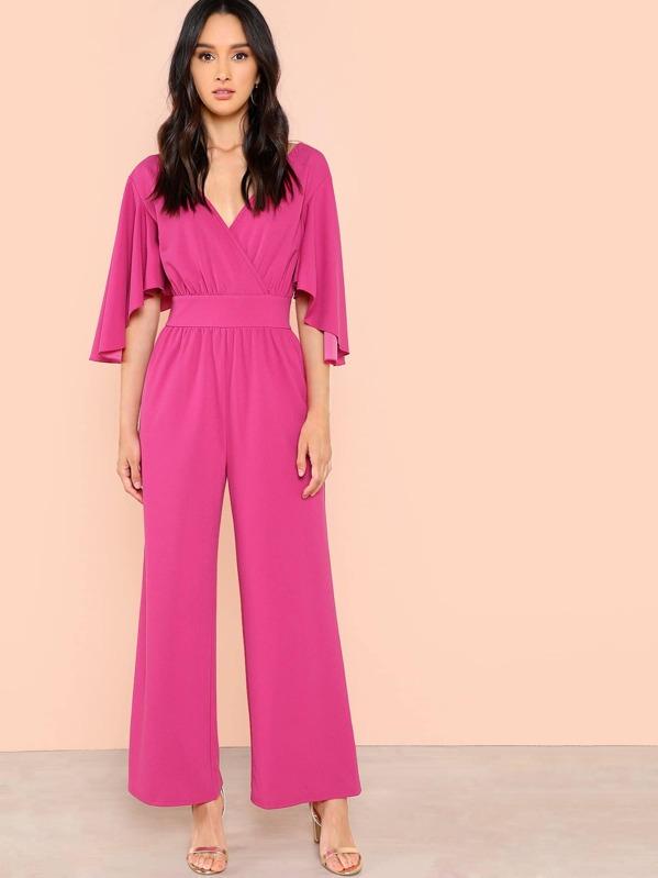25a1bbef615e Neon Pink Flutter Sleeve Wrap Jumpsuit