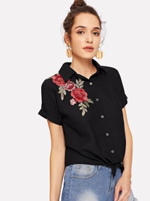 Embroidery Flower Applique Knot Shirt