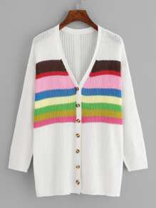 Color Block Buttoned Knit Coat