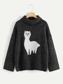 Cartoon Cat Front Rolled Neck Jumper