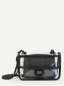 Clear Flap Crossbody Bag With Inner Pouch