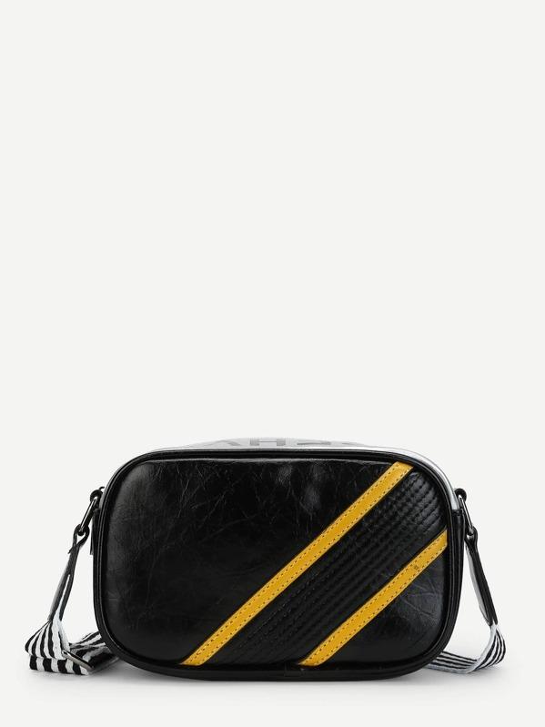 a39eb10ce1 Slogan Print Striped Crossbody Bag
