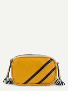 Slogan And Striped Print Crossbody Bag