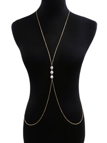 Faux Pearl Detail Body Chain