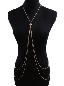 Gemstone Detail Double Layered Body Chain