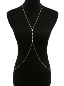 Faux Pearl Decorated Body Chain