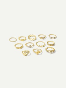 Heart & Star Ring Set 12pcs