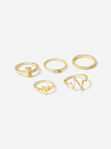 Bar & Deer Ring Set 5pcs