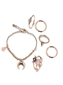 Moon Detail Chain Bracelet 1pc & Ring 5pcs