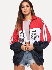 Zip Up Color Block Slogan Graphic Jacket