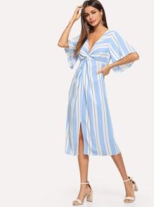 Plunging Neck Twist Front Slit Striped Dress
