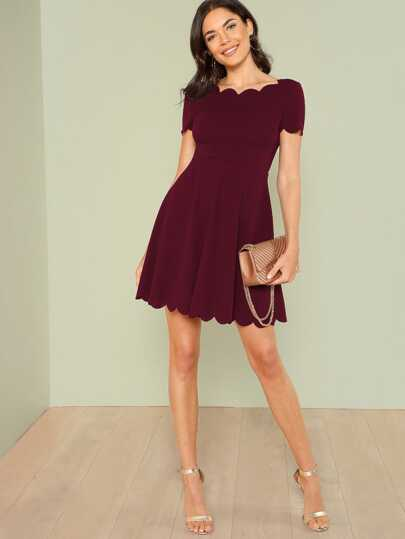 Scallop Edge Flare Dress