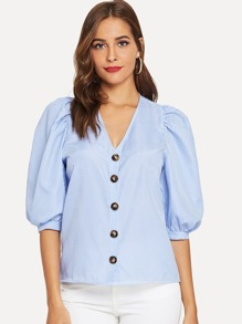 Lantern Sleeve Striped Button Front Blouse
