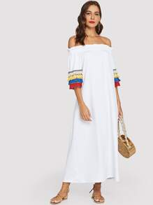 Off-Shoulder Tassel Detail Dress