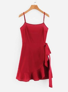 Tie Detail Overlap Hem Cami Dress