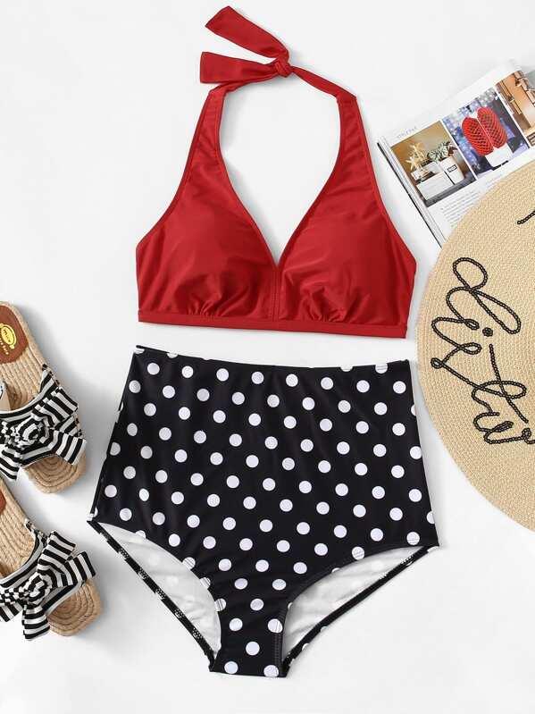 01fc3fdf57 Plus Halter Top With Polka Dot High Waist Bikini | SHEIN