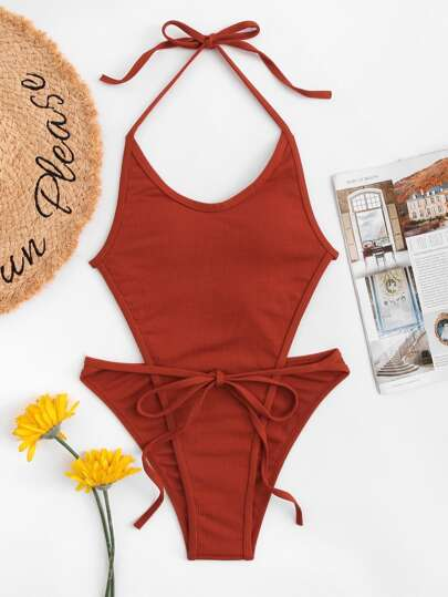 Open Back Halter One Piece Swimsuit