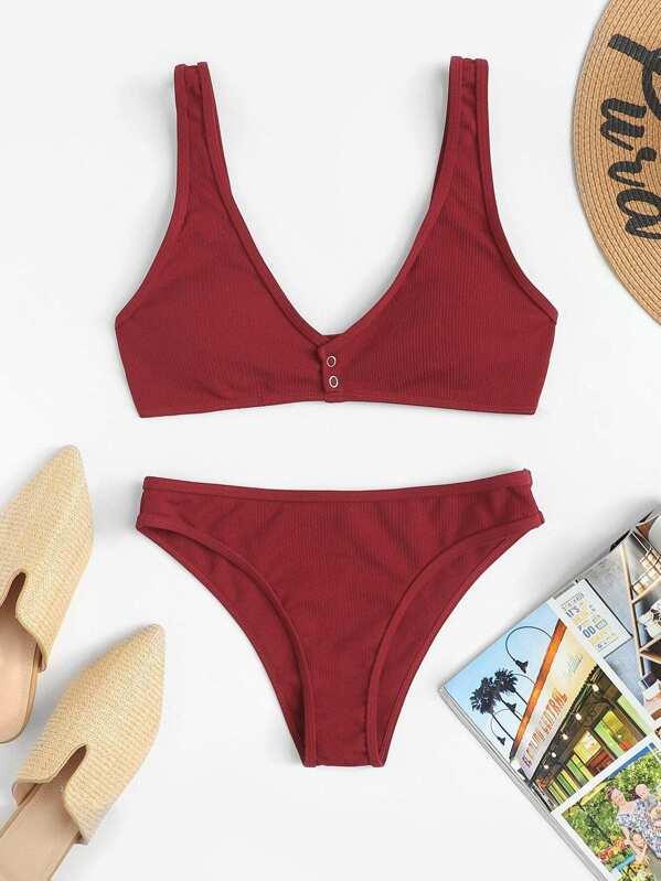 7b8fdc0c67 Cheap Plain Button Front Bikini Set for sale Australia | SHEIN