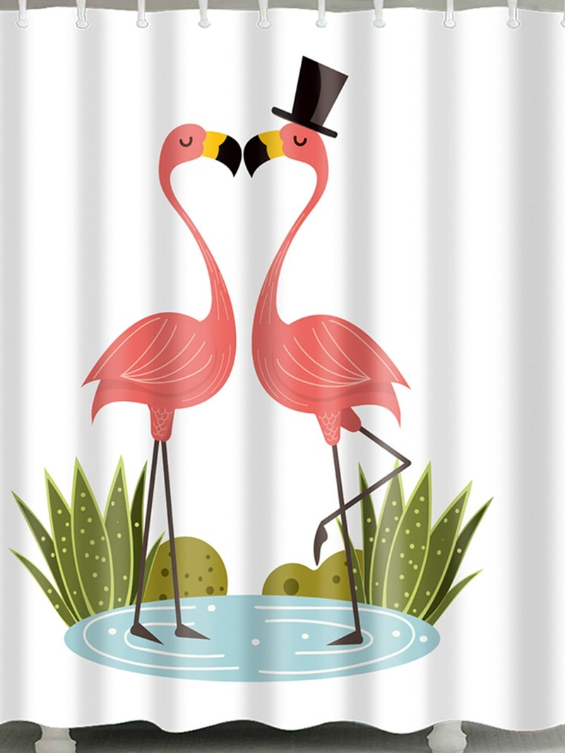 Flamingo Pattern Shower Curtain With 12pcs Hook