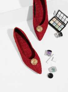 Contrast Button Tweed Flats