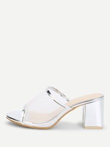 Metallic Trim Mesh Heeled Mules